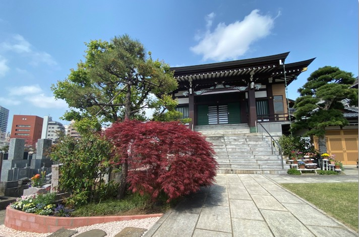 開放的な参道と青空に映える本堂